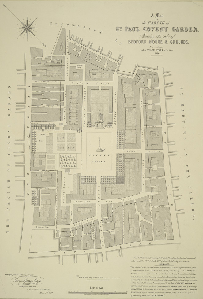 A map of the parish of St. Paul Covent Garden shewing the site of Bedford House & grounds